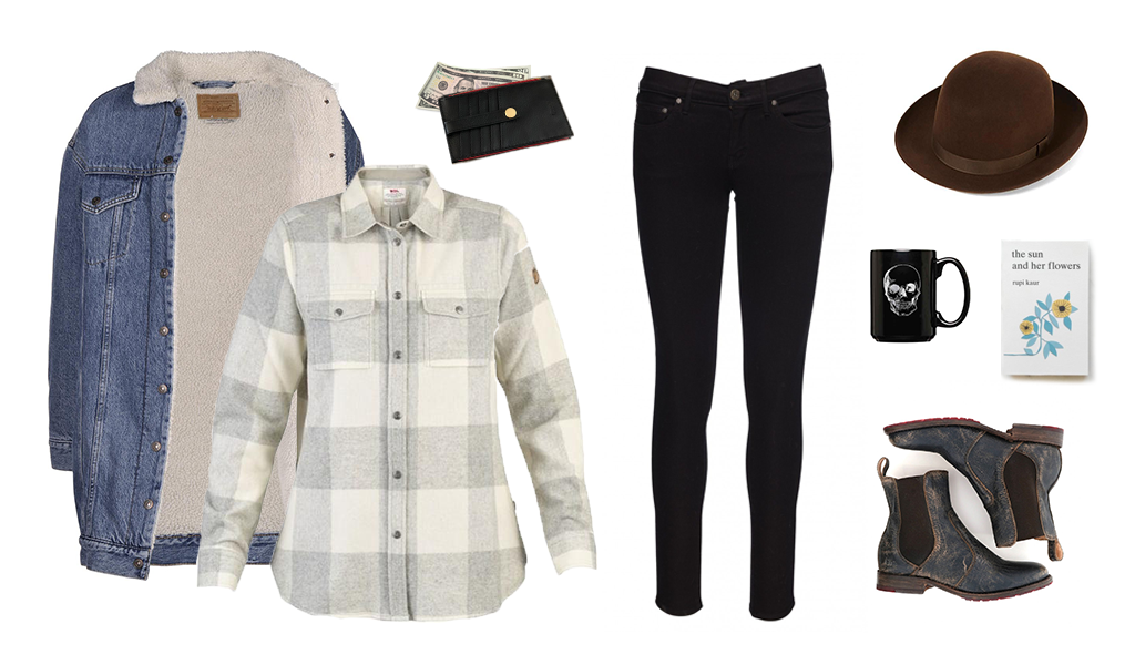 Fall outfit inspiration Levi's lengthened trucker jacket sherling sherpa Fjallraven flannel Tahoe University shop