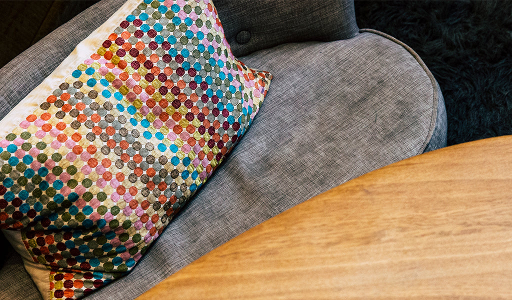 Textured multicolor pillow at Tahoe University
