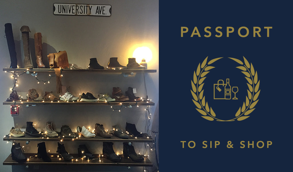 Passport to Sip & Shop shoe section at Tahoe University Festive Fridays
