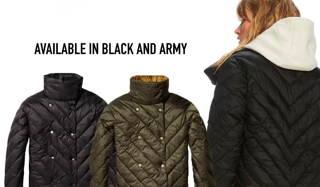 Double-Breasted Puffer Jacket by Scotch & Soda Available in Black & Army at Tahoe University