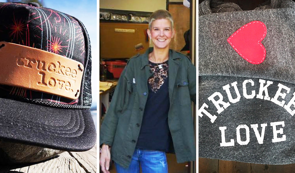3 images - Truckee Love Hat, Larissa Martinez, owner, and Truckee Love sweatshirt