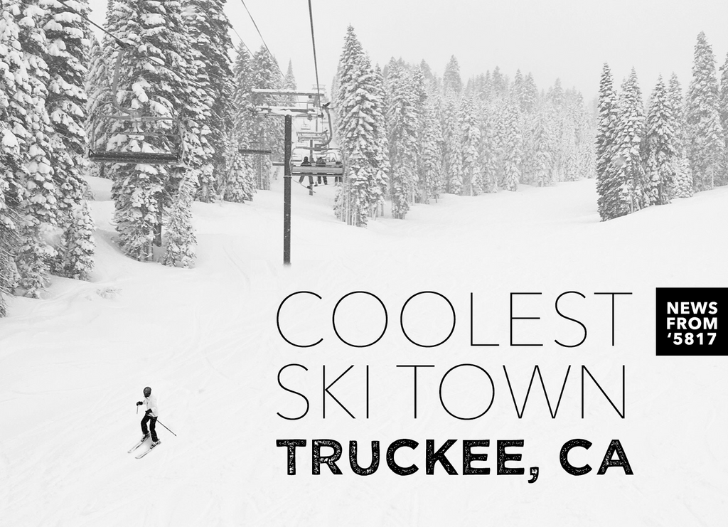 Text Coolest Ski Town Truckee, California News from '5817 Photo of skier at Squaw Valley