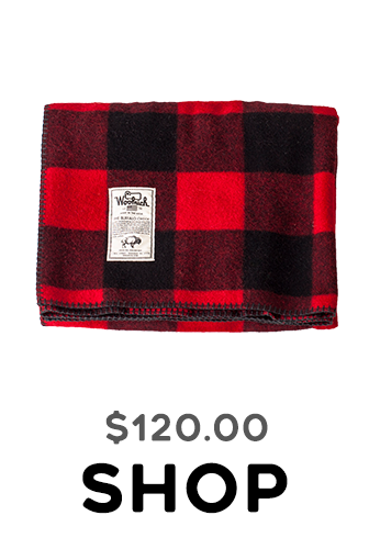 Woolrich Rough Rider throw Camp blanket red buffalo plaid at Tahoe University in Truckee, CA
