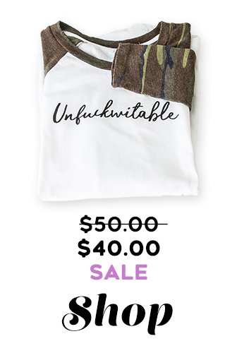 Image: Unf*ckwitable Camo Raglan tee Tahoe U Original Text: Was $50 Now $40 SALE Shop