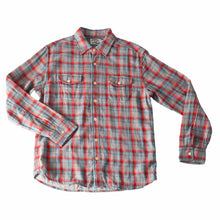 Mens Button Down Plaid Shirt - Red Seafoam Gray