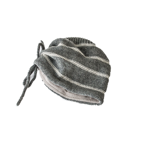 White Stripe Pouch Charcoal Beanie