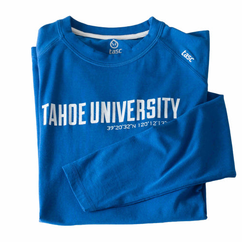 Tahoe University Cobalt Blue Long Sleeve Running Shirt | Tahoe Clothing | Tahoe Apparel | Tahoe Long Sleeve T-Shirt