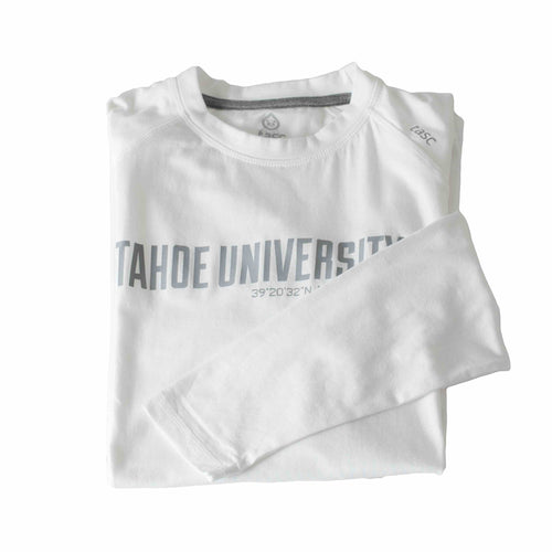 Tahoe University White Long Sleeve Running Shirt | Tahoe Clothing | Tahoe Apparel | Tahoe Long Sleeve T-Shirt