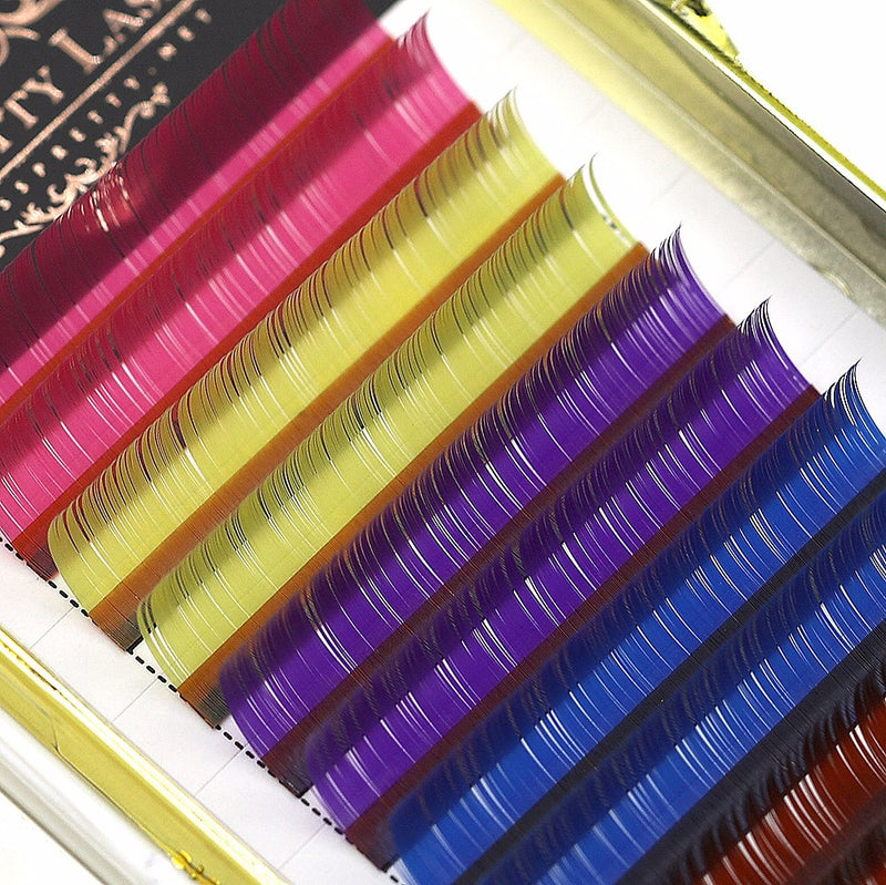 Rainbow lash trays mixed coloured 0.15 c curl