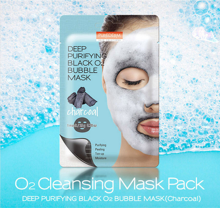 Purederm - Deep Purifying Black O2 Bubble Mask (Charcoal)