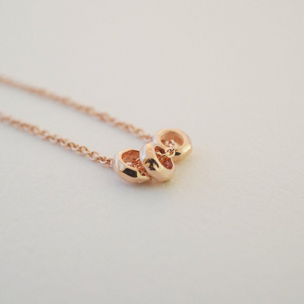 Brandy 3-Ring Necklace Necklaces HONEYCAT Jewelry Rose Gold
