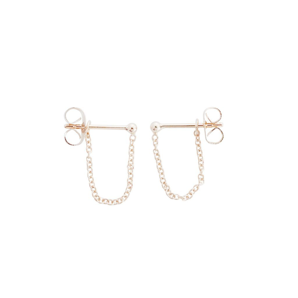 Chain Wrap Huggies Earrings HONEYCAT Jewelry Rose Gold