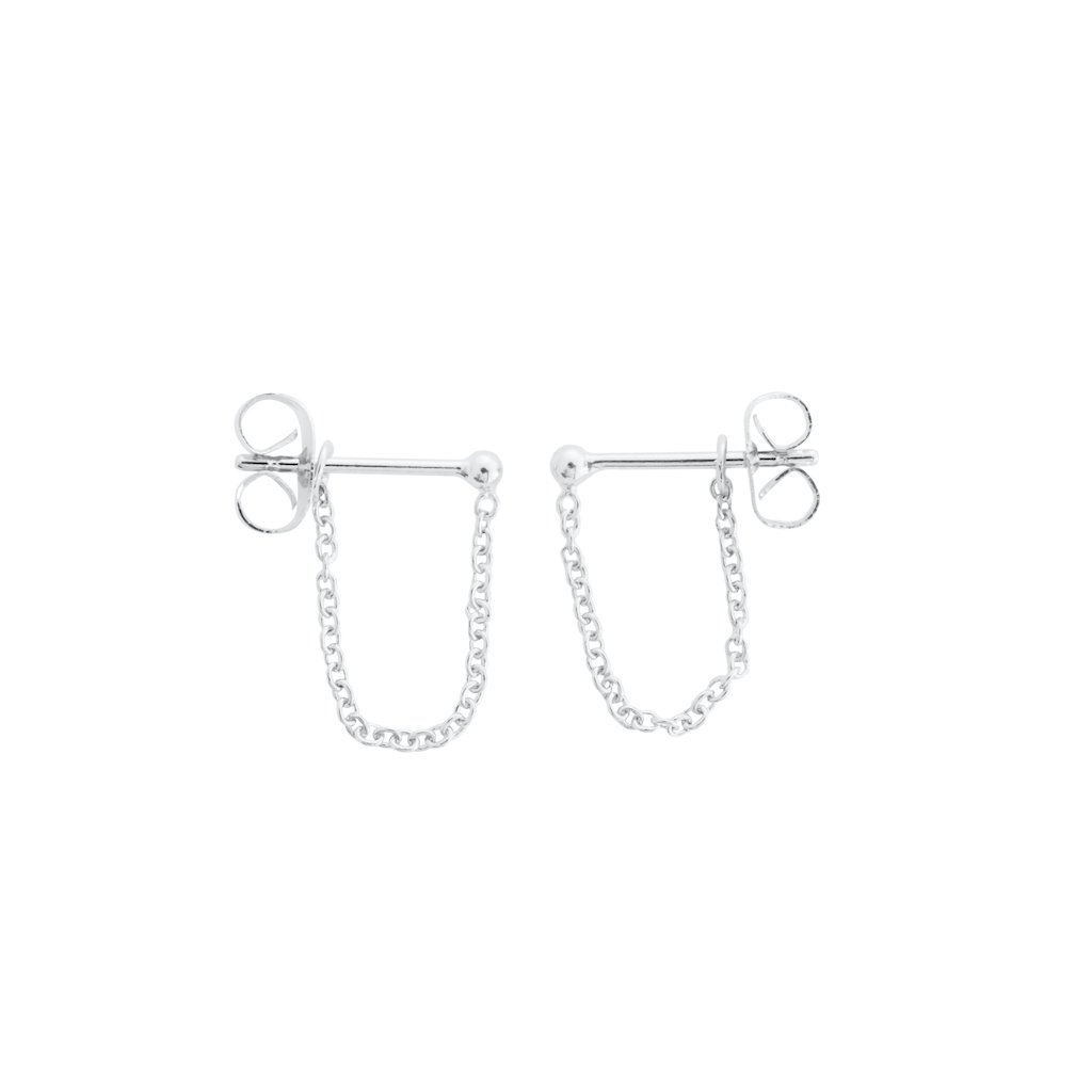 Chain Wrap Huggies Earrings HONEYCAT Jewelry Silver