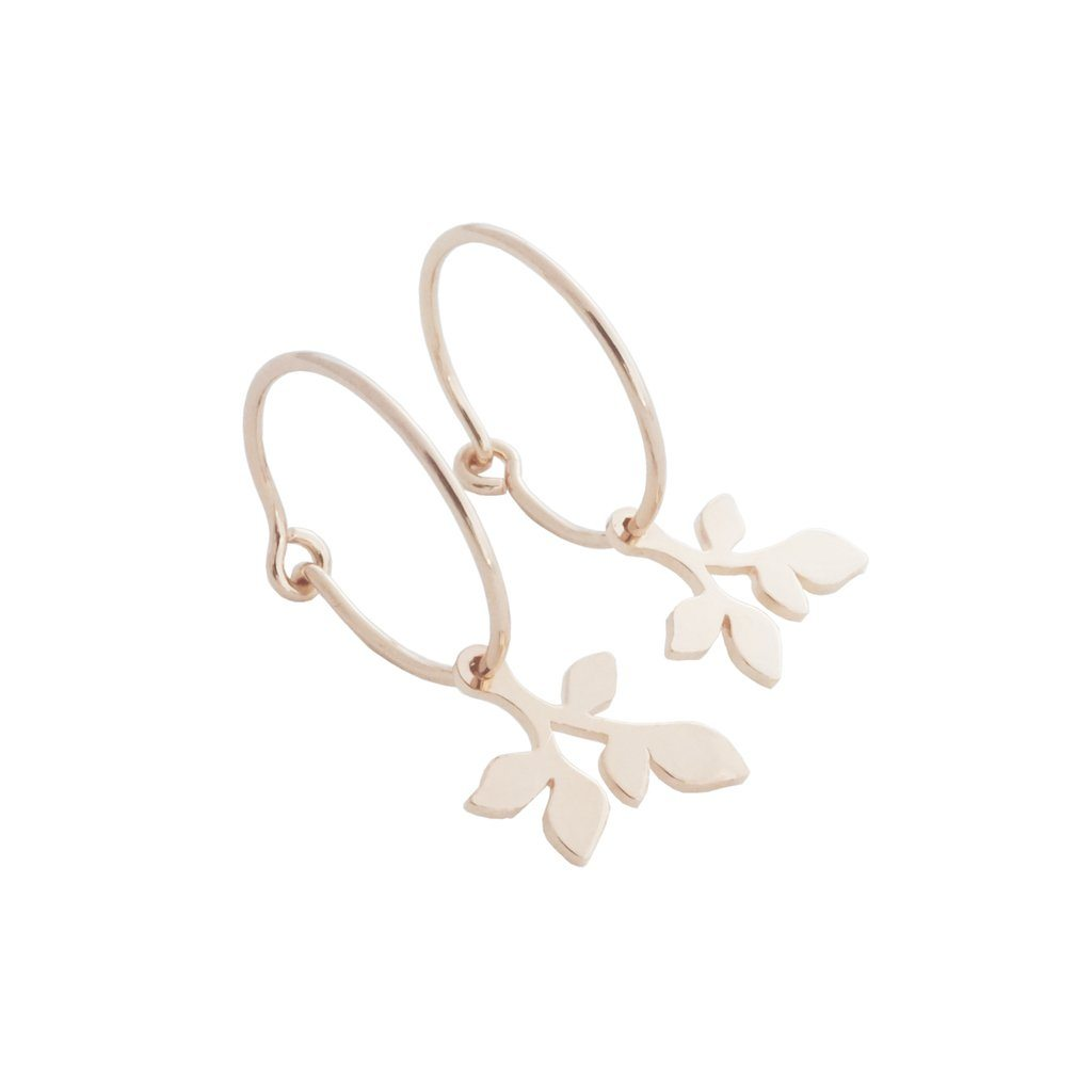 Magic Charm Leaf Hoops Earrings HONEYCAT Jewelry Rose Gold