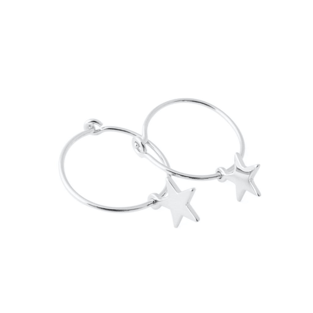 Choosey Star Hoops Earrings HONEYCAT Jewelry Silver