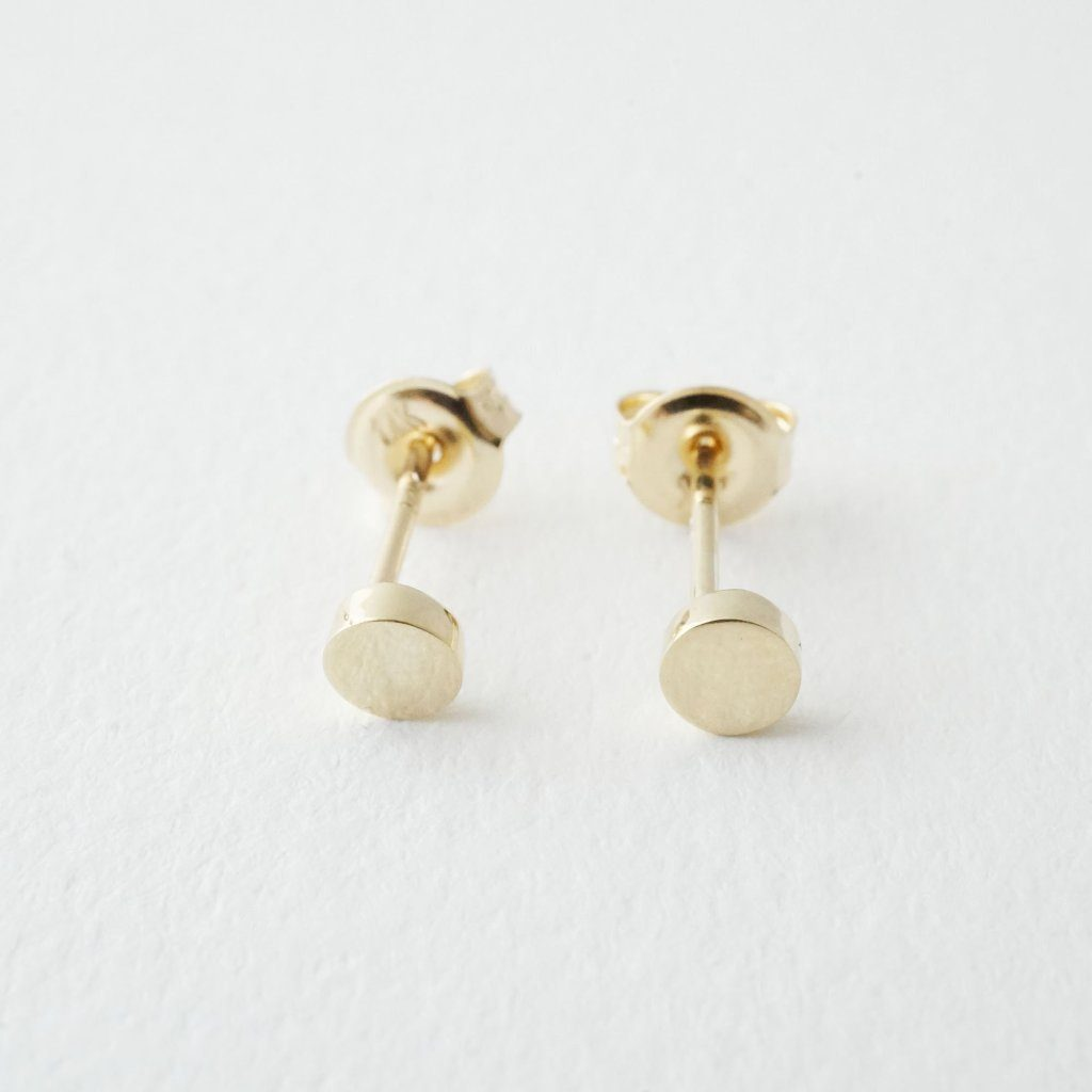 Mini Circle Studs, 14k Gold Earrings HONEYCAT Jewelry Gold