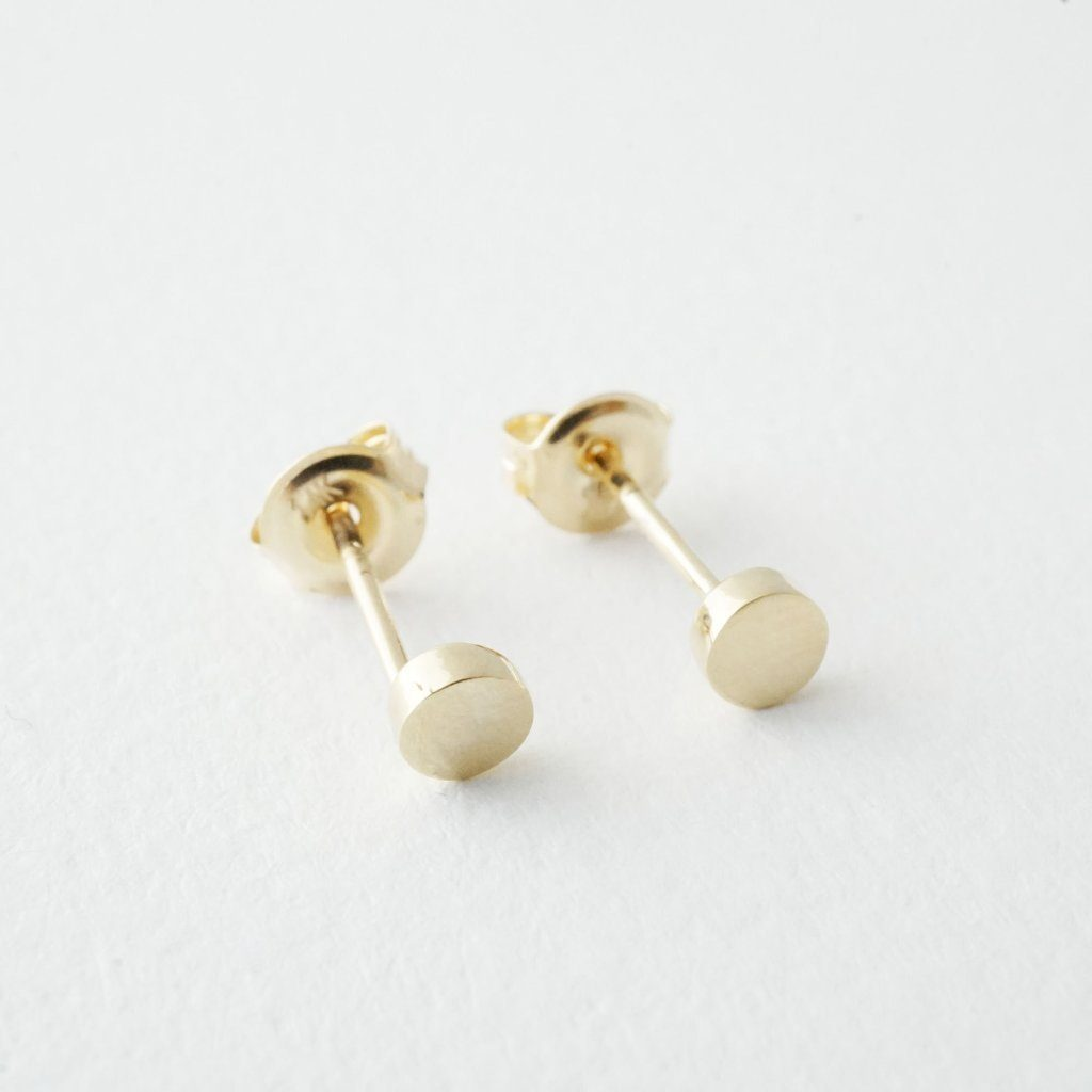 Mini Circle Studs, 14k Gold Earrings HONEYCAT Jewelry