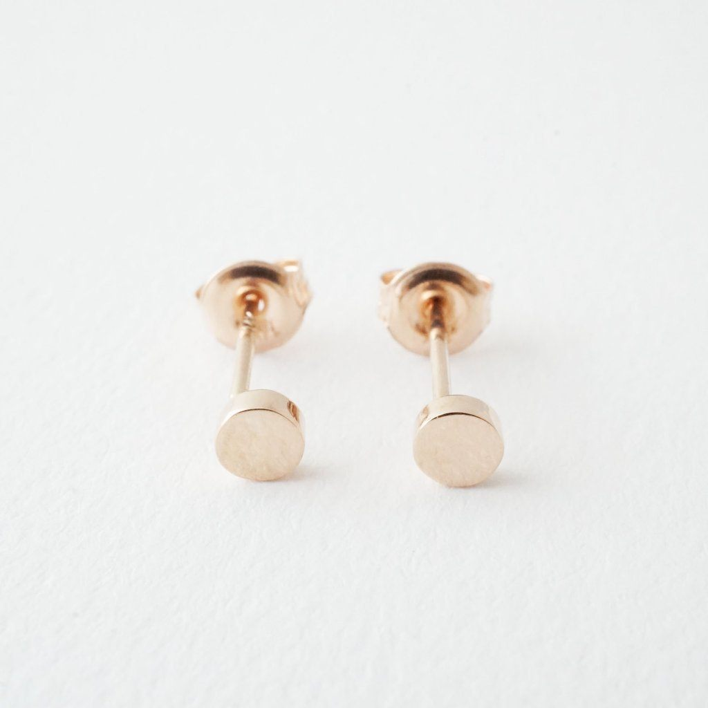 Mini Circle Studs, 14k Gold Earrings HONEYCAT Jewelry Rose Gold