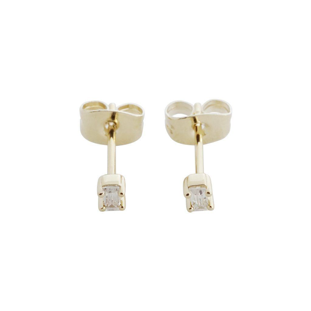 Crystal Baguette Studs Earrings HONEYCAT Jewelry Gold