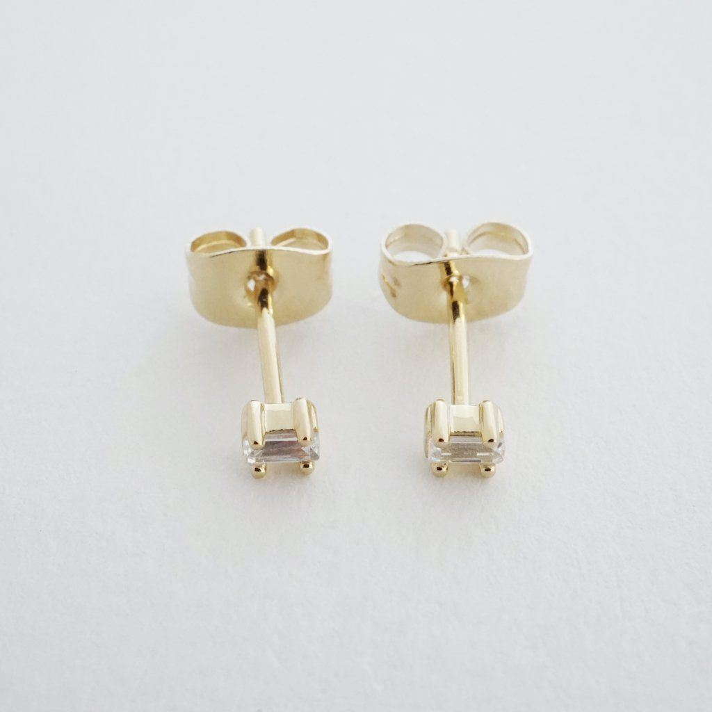 Crystal Baguette Studs Earrings HONEYCAT Jewelry