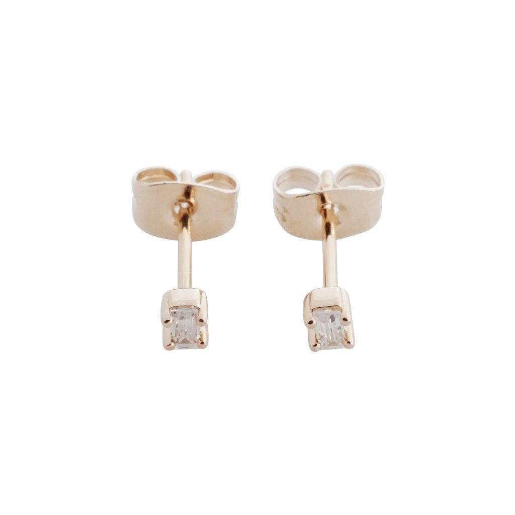 Crystal Baguette Studs Earrings HONEYCAT Jewelry Rose Gold