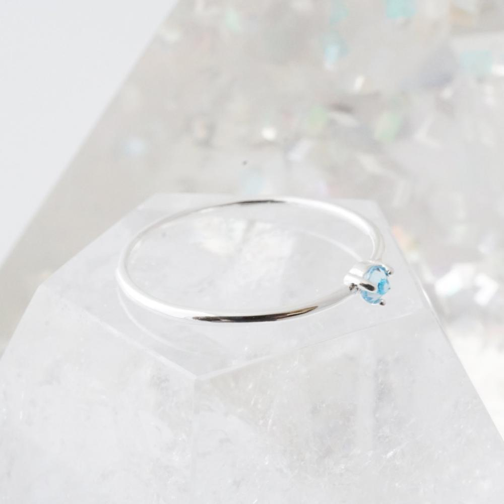 Aquamarine Crystal Point Solitaire Ring Rings HONEYCAT Jewelry