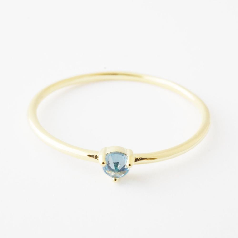 Aquamarine Crystal Point Solitaire Ring Rings HONEYCAT Jewelry Gold 6
