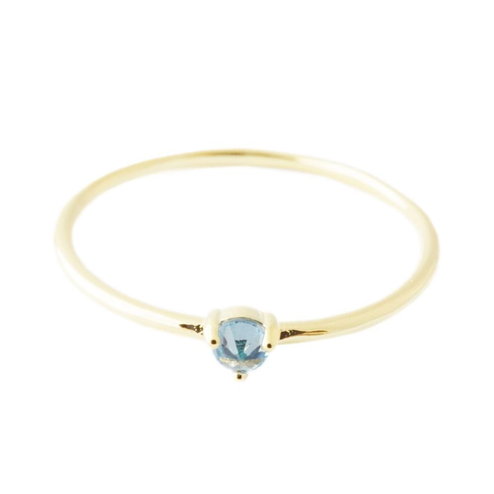 Aquamarine Crystal Point Solitaire Ring Rings HONEYCAT Jewelry Gold 5
