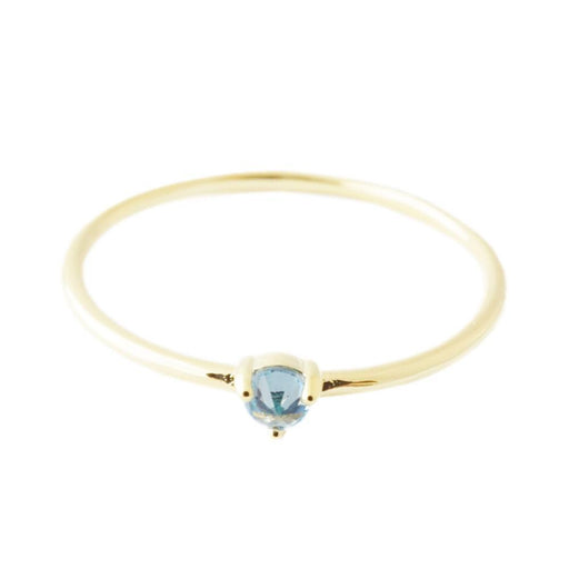 Aquamarine Crystal Point Solitaire Ring