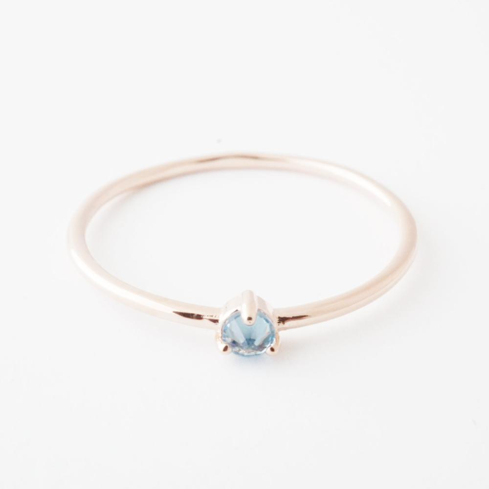 Aquamarine Crystal Point Solitaire Ring Rings HONEYCAT Jewelry Rose Gold 6