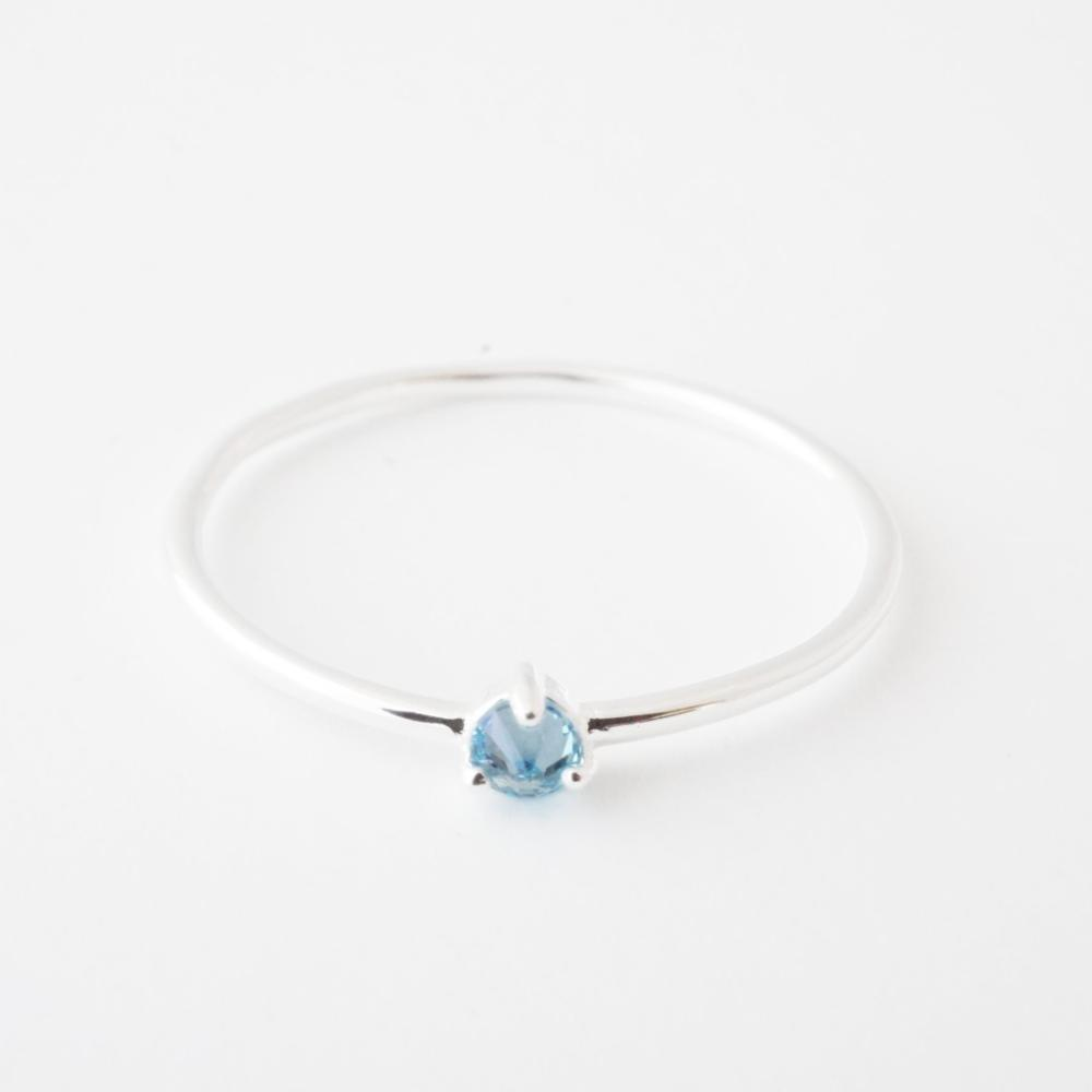 Aquamarine Crystal Point Solitaire Ring Rings HONEYCAT Jewelry Silver 6
