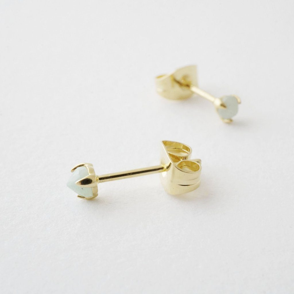 Jade Point Solitaire Studs Earrings HONEYCAT Jewelry Gold