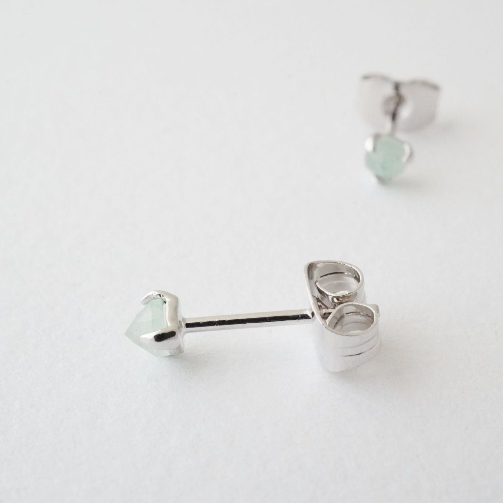 Jade Point Solitaire Studs Earrings HONEYCAT Jewelry Silver