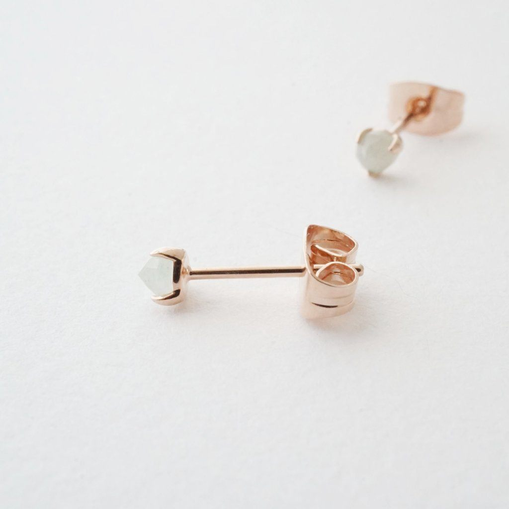 Jade Point Solitaire Studs Earrings HONEYCAT Jewelry Rose Gold