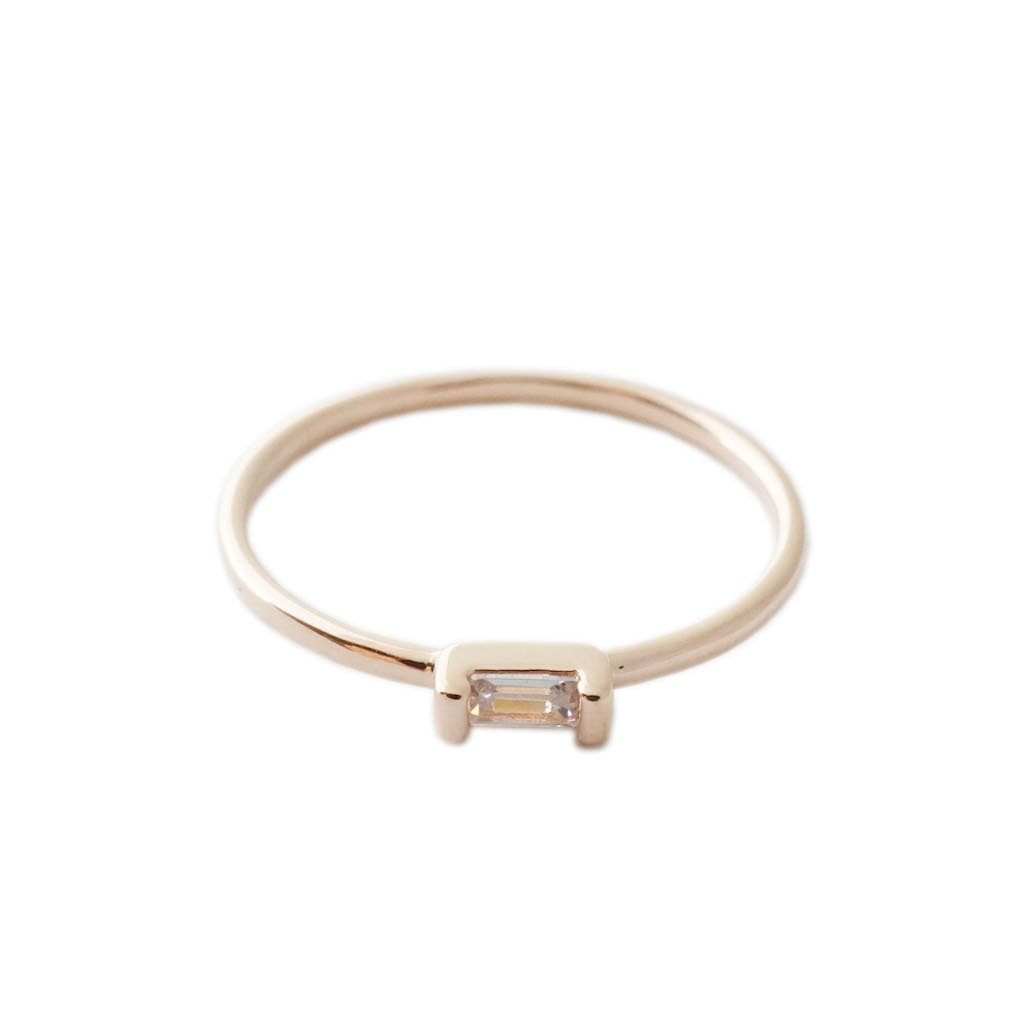 Crystal Baguette Ring Rings HONEYCAT Jewelry Rose Gold 5