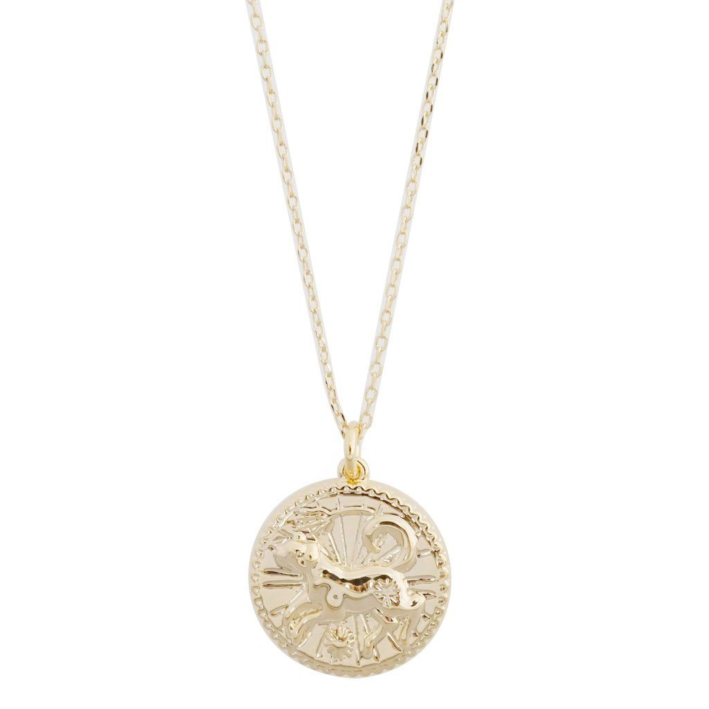 Chinese Zodiac Coin Necklace - Dog Necklaces HONEYCAT Jewelry Gold