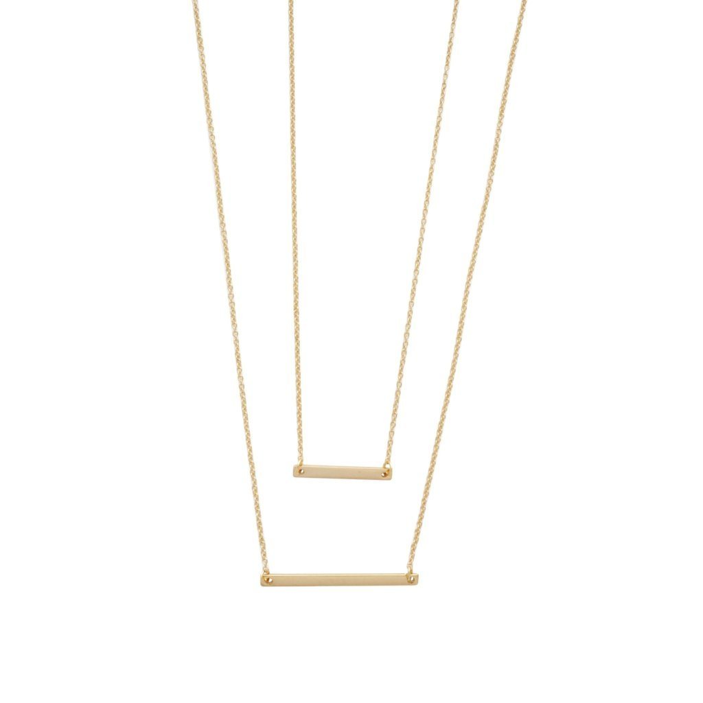 Double Layer Bar Necklace Necklaces HONEYCAT Jewelry Gold