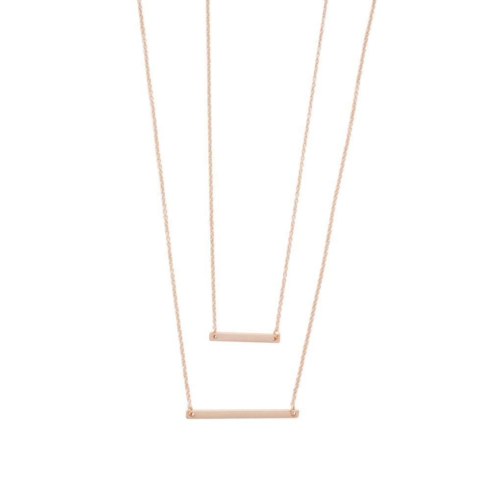 Double Layer Bar Necklace Necklaces HONEYCAT Jewelry Rose Gold
