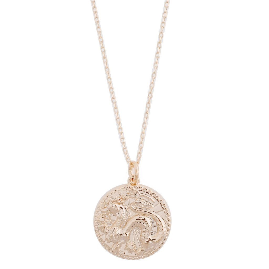 Chinese Zodiac Coin Necklace - Dragon Necklaces HONEYCAT Jewelry Rose Gold