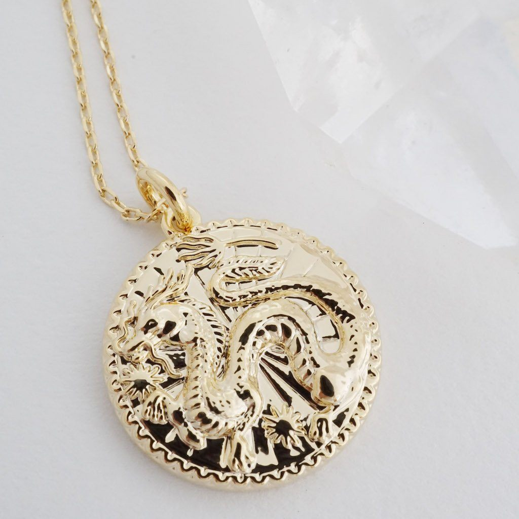 Chinese Zodiac Coin Necklace - Dragon Necklaces HONEYCAT Jewelry