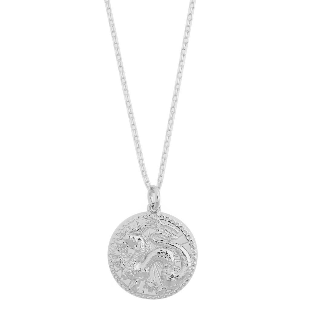 Chinese Zodiac Coin Necklace - Dragon Necklaces HONEYCAT Jewelry Silver