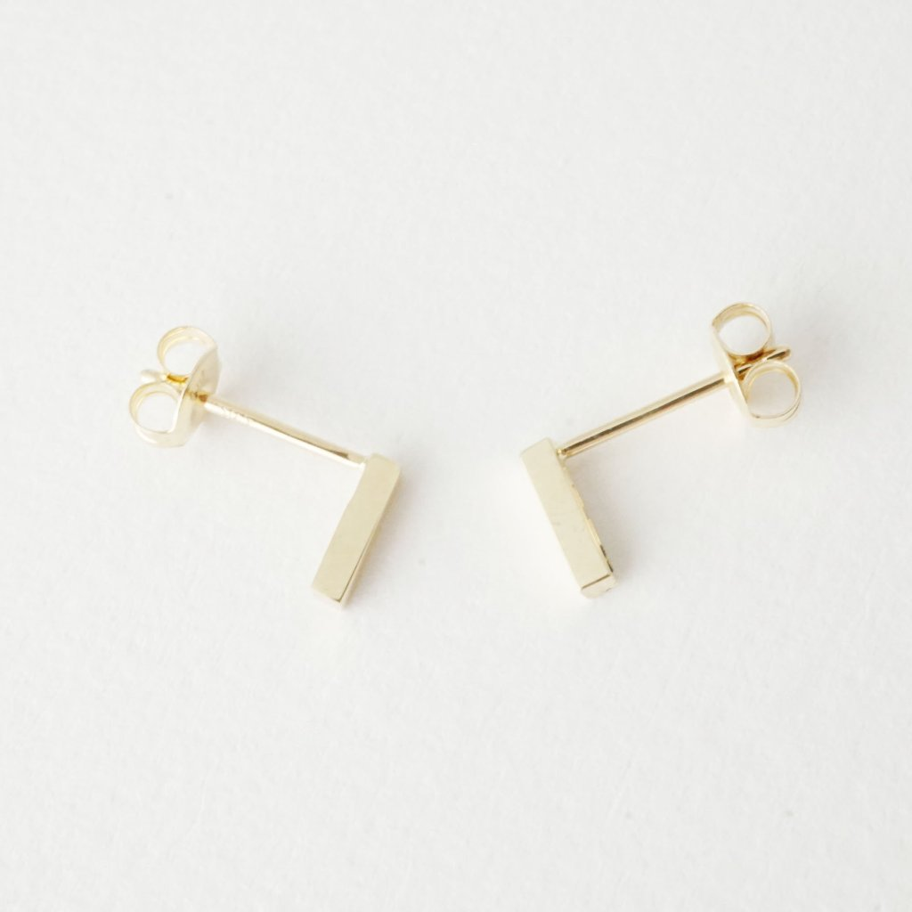 Drop Bar Earrings, 14k Gold