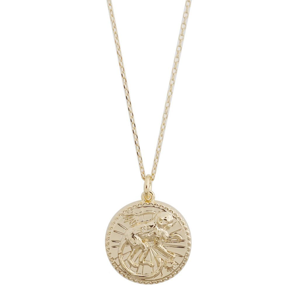 Chinese Zodiac Coin Necklace - Monkey Necklaces HONEYCAT Jewelry Gold