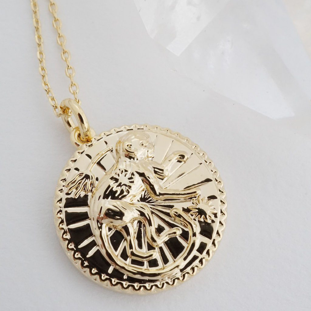 Chinese Zodiac Coin Necklace - Monkey Necklaces HONEYCAT Jewelry