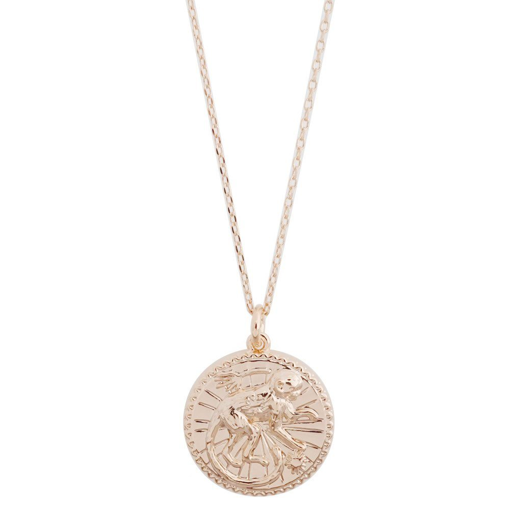 Chinese Zodiac Coin Necklace - Monkey Necklaces HONEYCAT Jewelry Rose Gold