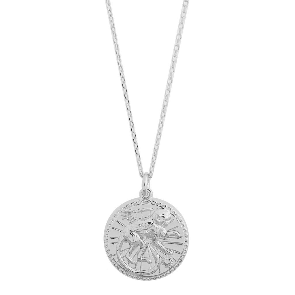 Chinese Zodiac Coin Necklace - Monkey Necklaces HONEYCAT Jewelry Silver