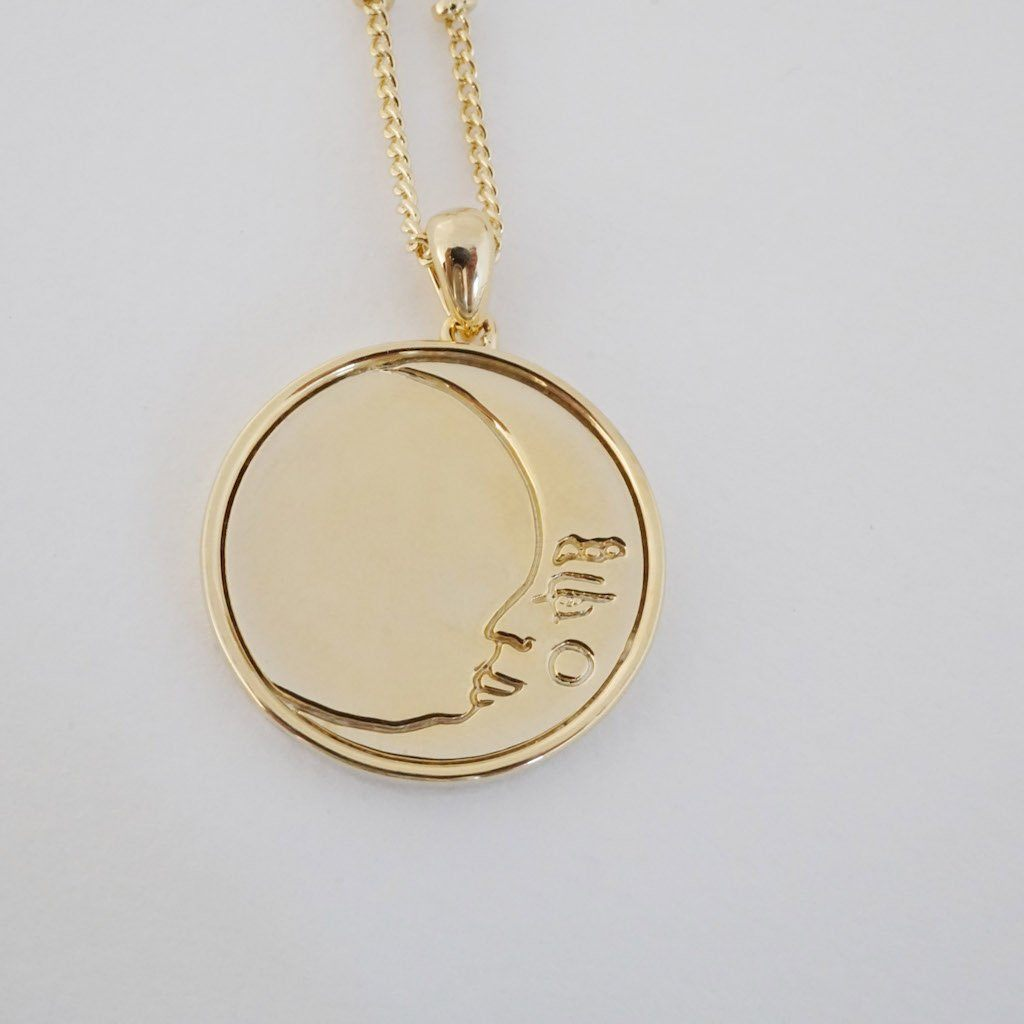 Moon Face Pendant Necklace Necklaces HONEYCAT Jewelry