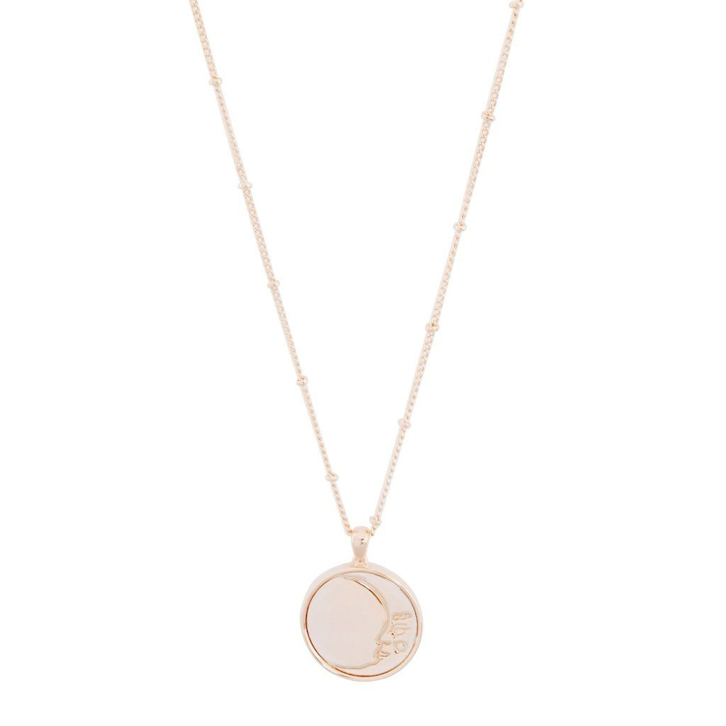Moon Face Pendant Necklace Necklaces HONEYCAT Jewelry Rose Gold