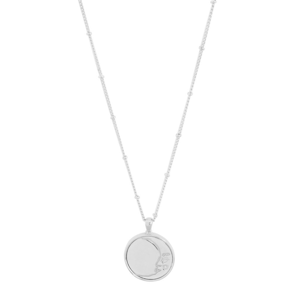 Moon Face Pendant Necklace Necklaces HONEYCAT Jewelry Silver