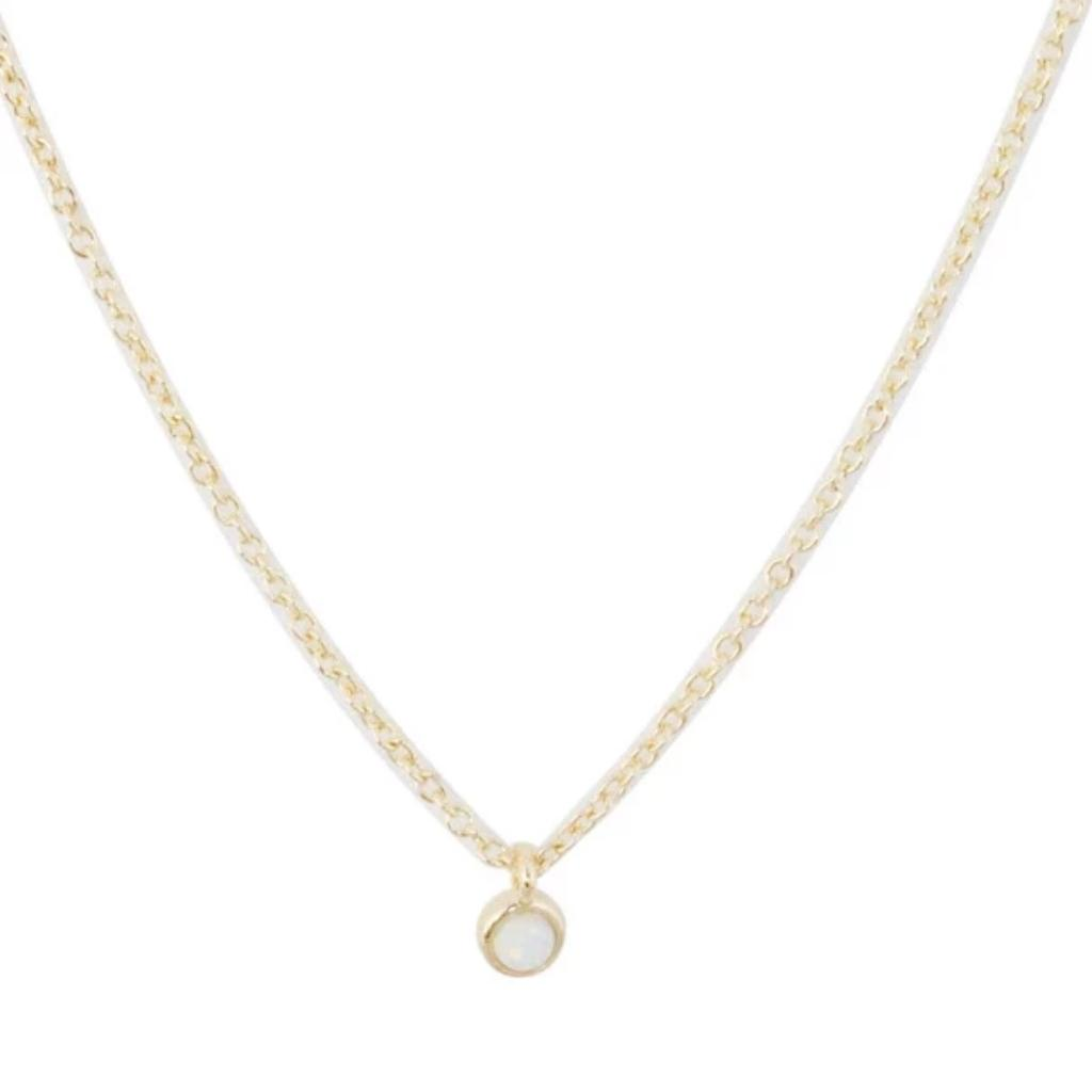 Opal Bezel Set Necklace Necklaces HONEYCAT Jewelry Gold